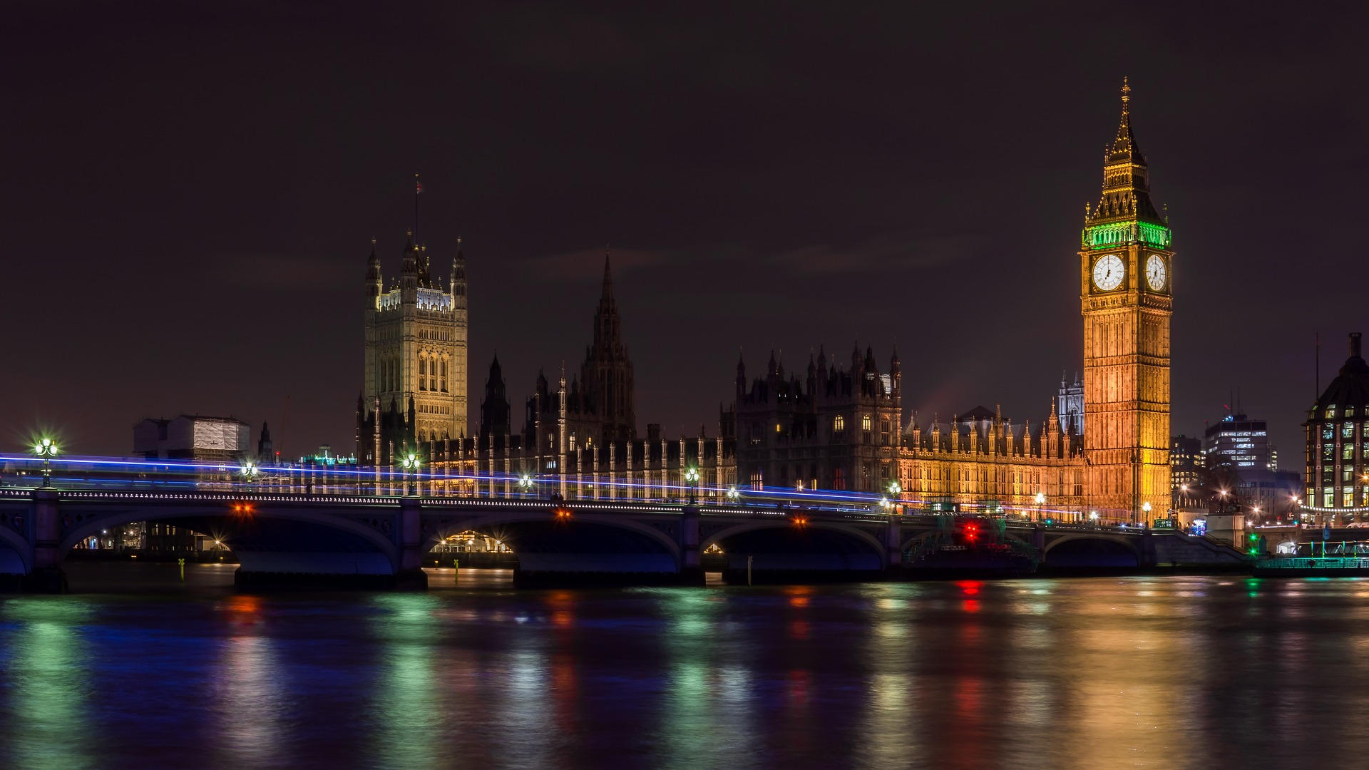 London bei Nacht - Big Ben, Palace of Westminster, London Bridge
